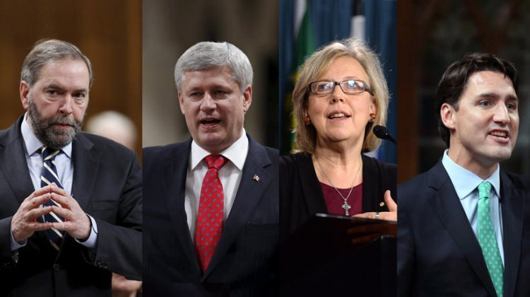 Thomas Mulcair, Stephen Harper, Elizabeth May, Stephen Trudeau.  NO Credit.